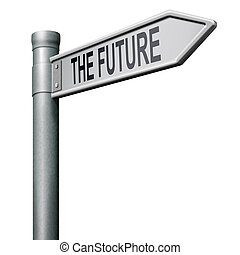road to the future - bright future ahead road sign indicatin...