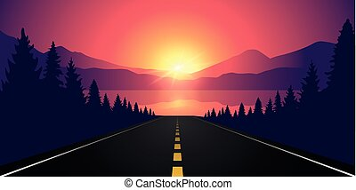 road to the lake in the forest at sunrise with mountain landscape