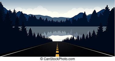 road to the lake in the forest with blue mountain landscape