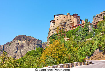 Road to The Monastery of Rousanou on the cliff in Meteora, ...