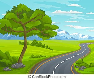 Road to the mountain. Landscape with asphalt road passing through forest and meadow to mountains