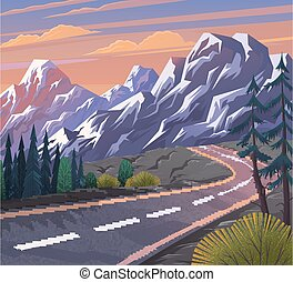 Road to the mountain. Scenic landscape with asphalt road passing through forest to mountains