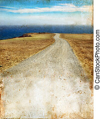 Road to the Sea on Grunge background