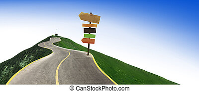 road to the top of the mountain. concept photo with arrows sign