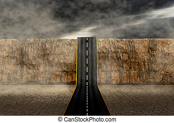 road to the unknown - a road that goes up a mountain,...