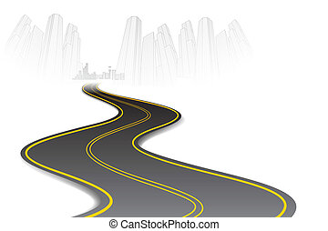 Road to Town - illustration of road going to urban city...
