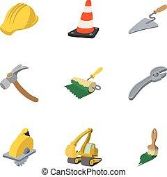 Road tools icons set, cartoon style