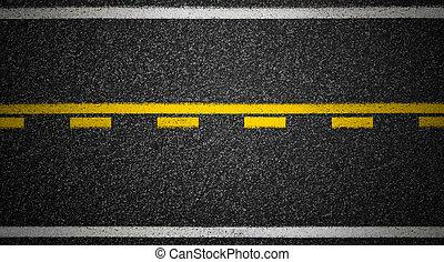 Road top view. Asphalt highway marks.