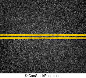 Road top view. Asphalt highway yellow marks.