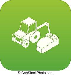 Road tractor icon green vector