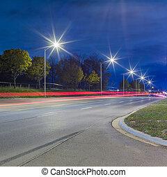 light trails at night