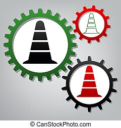 Road traffic cone icon. Vector. Three connected gears with icons