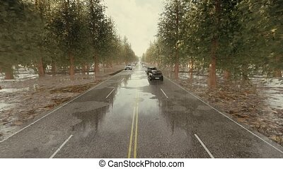 Road traffic during rain Rush hour