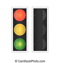 Road Traffic Light Vector. Realistic LED Panel. Sequence Lights Red, Yellow, Green. Go, Wait, Stop Signals. Isolated On White Background.