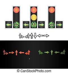 Road Traffic Light Vector. Realistic LED Panel. Sequence Lights Red, Yellow, Green. Time, Turn, Go, Wait, Stop Signals. Isolated On White Background.