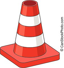 Road Traffic plastic Cone - Vector Illustration of Road...