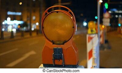 Road traffic repairs street - Left lane closed construction...