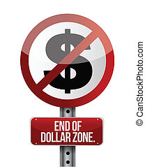 road traffic sign with a dollar zone end