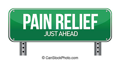 road traffic sign with a pain relief concept illustration ...