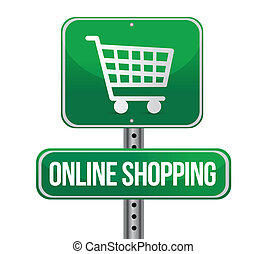 road traffic sign with an online shopping concept ...