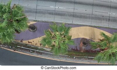 Road traffic tropical view, video of the Interstate 110 with palms growing in the divider, artistic cinematic motion shot