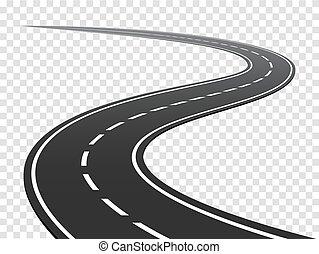 road., trafik, resa, slingrande, highway., böjd