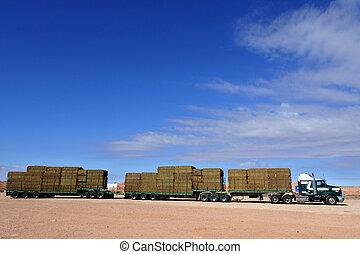 Road train in central Australia Outback