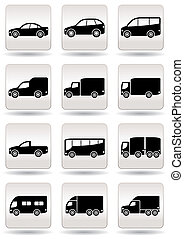 Road transport icons set