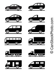 Road transportation icons set