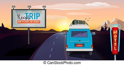 Road trip. Adventure on the road in car summer vacation urban landscape vector background
