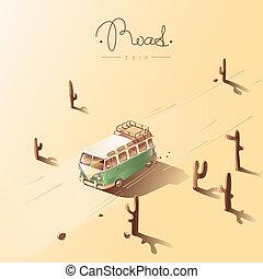 Road trip by retro van. Vector illustration. - Road trip by...