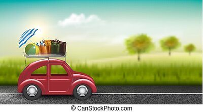 Road trip concept. Red car with baggage in countryside. Vector.