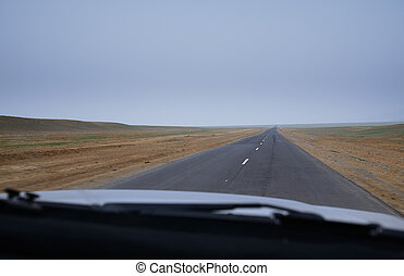 Road trip in Europe. Car point of view