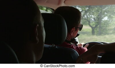 Road trip in mini bus - Small group of tourists on a private...