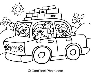 Family going for a long drive with luggage strapped to the roof of the car.