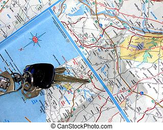 Road Trip - Map and car keys