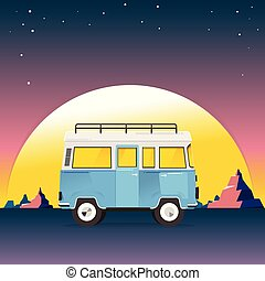 Road trip. Minivan with mountain landscape. Travel concept in mountains on the background. Adventures in nature. vector illustration.