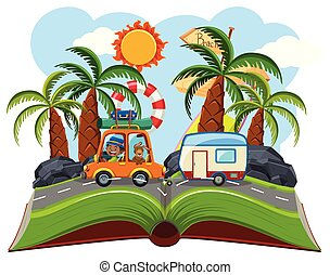 Road trip on pop up book