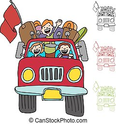 Road Trip Pickup Truck Family - An image of a family riding...