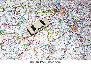 Road Trip - Map with a Model Car, Road Trip