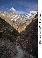 mountain panorama in kazbegi national park