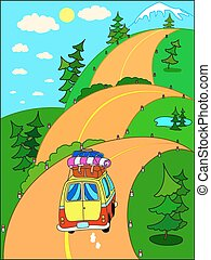 Road trip to the mountains. - Road trip on vacation to the...