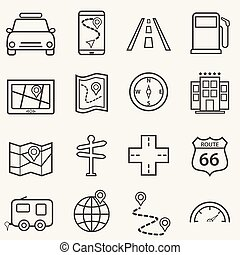 Road trip, travel and navigation line icons