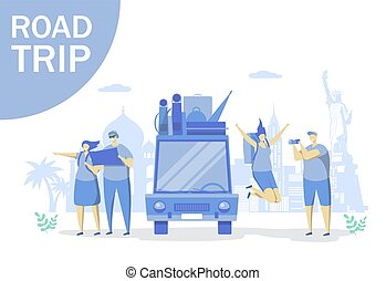 Road trip vector concept for web banner, website page