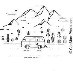 Road trip vector flat line illustration. Minivan with...