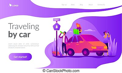 Road trip vector landing page template.