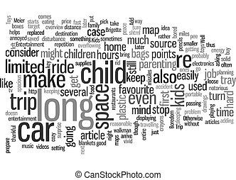 Road Trip with Kids text background wordcloud concept