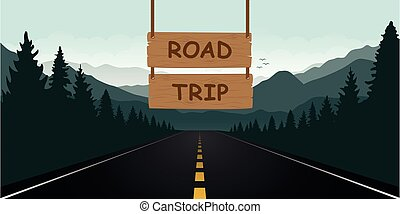 road trip wooden sign in the forest with green mountain landscape