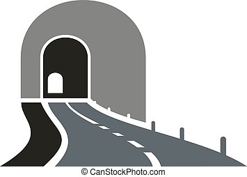 Road tunnel icon with underpass entrance - Dark gray road...