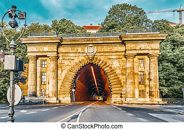Road Tunnel near Funicular to Royal Castle Hill. Budapest. Hungary.